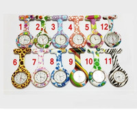 Wholesale Medical Pins - Hot sale New Silicone Nurse watches Colorful Prints Medical Nurse Watch Cute Patterns Doctor Fob Quarta Watches Friends Gift Pin Watches