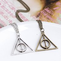 Wholesale Triangle Heart Necklace - DHL Harry potter and the deathly hallows triangle Pendant Necklace movie harry potter long triangle necklace silver gold in stock E24J