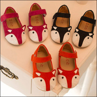 Wholesale Red Summer Tape - 2015 HOT Kids Cute FOX Shoes girls cartoon Leather Shoes Children Magic Tape Soft Bottom Casual Shoes free shipping MOQ:5pairs SVS0509