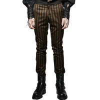 Wholesale Rugged Pants - Wholesale- Steam Punk Men Dress Pants Gothic High Grade Suit Woven Rugged Striped Party Pants Coffee Evening Trousers
