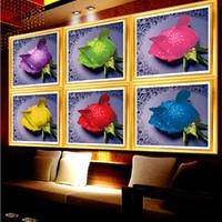 Wholesale Embroidery Decorations Ornament - DIY 3D Diamond Painting Rose 7 Colors Round Rhinestone Pasting Decorative Handmade Painting Diamond Embroidery Mosaic Needlework