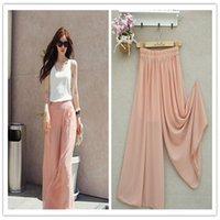 Wholesale High Waist Chiffon Pink Pants - 3pcs lot Fashion high waist loose chiffon skirt pants casual chiffon wide leg pants trousers plus size 6XL
