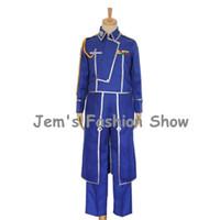 Wholesale Coated Apron - Anime Fullmetal Alchemist Cosplay Roy Mustang Costumes Military Uniform Fashion Blue Suit Coat + Pants + Apron