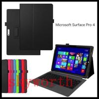 microsoft surface pro couvre achat en gros de-Flip Stand Folio En Cuir PU Wallet Case Smart Cover Pour Microsoft Surface3 Surface Pro 3 4 10,8 pouces 12 pouces Tablet PC