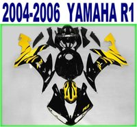 Wholesale Lowering Kit For R1 - 100% Injection molding lowest price fairings set for YAMAHA 2004 2005 2006 YZF R1 yellow black motorcyccle fairing kit 04-06 yzf-r1 RY25