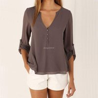 Wholesale Loose Chiffon Blouse V Neck - Grey Long Sleeve Chiffon Blouse Shirt Fall Deep V Neck Buttoned Back High Low Asymmetric Loose Casual 2016 Autumn Women Top