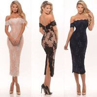 Wholesale Evening Gowns Fur - Off The Shoulder Lace Cocktail Dress 2016 Tea-Length Evening Dresses with Zipper Party Gowns Evening Prom Dresses
