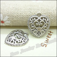 Wholesale metal crimps - 130 pcs Charms Heart Pendant Tibetan silver Zinc Alloy Fit Bracelet Necklace DIY Metal Jewelry Findings