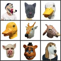 Latex Halloween Erwachsene Tier Maske Full Face Scary Atmungs Hund Pferd Ente Deer Bier Katze Kopf Cosplay Phantasie Ball Party Masken