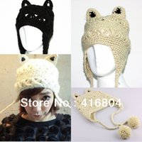 Wholesale Knitted Hats Pigtails - Wholesale-Fashion Women's Devil horns Cat Ear Pigtail Ball Crochet Knit Winter Warm Ski Wool Hat Cap