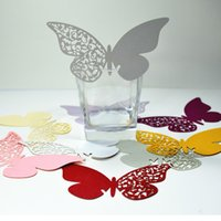 tarjetas de lugar mariposa para gafas al por mayor-Multi-Uso 200 Unids Mariposa Recorte Place Escort Wedding Party Wine Glass Paper Cards envío gratis TY882