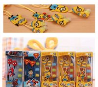 Wholesale Despicable Iphone 3d - Cartoon In-ear Earphones Wired 3.5mm Headphone 3D Despicable Me Minions Model Headset For Iphone 6 MP3 MP4 Cell Phone