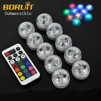 Wholesale Submersible Led Decor Tea Light - 10pcs Flameless Electric Submersible Remote Control Candle Lights New Year Kaarsen Led Floral Tea Lamp Wedding Christmas Decor