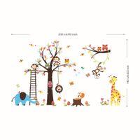 murales de búho para niños al por mayor-Extra Large Animal Family Tree Decal Art Decal Decoración de la habitación de los niños Sala de estar Decoración infantil Arte de dibujos animados Elefante Búho león Mural Decoración de la pared
