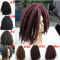 Wholesale Afro Kinky Hair Bulk - Kanekalon Marley Braids Synthetic braiding hair bulk Afro Kinky twist 20inch 100g Kanekalon Crochet braids Synthetic hair extensions