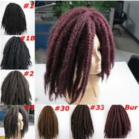 Hot selling Kanekalon Marley Braids Synthetic braiding hair bulk Afro Kinky twist 20inch 100g Kanekalon Crochet braids Synthetic hair extensions