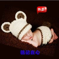 Wholesale Newborn Beanie Bear - 1 set Beige bear Sale Handmade Photography Props Newborn Baby Animal Costume hats Knitted Infant Suit Beanies Crochet Caps short