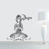 duvar ev dekor için kelimeler toptan satış-Yoga Lotus Poz Duvar Çıkartmaları Kelimeler Spor Duvar Dekor Vinil Duvar Çıkartmaları Ev Iç Tasarım Yatak Odası Stüdyo Pencere Yurt Sanat Resimleri