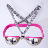 Wholesale couples chastity toys resale online - Stainless steel Female breast bondage Female chastity belt Chastity Bra SM game for couples Fetish Sex bondage Erotic toys Sex shop