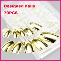 Wholesale Silver Square Nail - Wholesale-70pcs Punk Gold   Silver Mirror Metal Metallic Full Cover Fake False Nail Tip Tips Trendy DIY Manicure Finished Free shipping