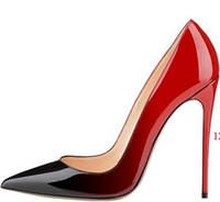 Wholesale Plaid Pumps - 2018 New Luxury Brand RED BOTTOM High Heels Black Rivet Point With Shallow Mouth Women's Dress Shoes Fashion Spikes Pumps 8 10 12CM