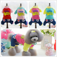 "Wholesale london sweater - 2016 Dog Plus Velvet Jumpsuit Patwork Jean For Pets Cute Puppy Winter Warm Costumes Clothes With Letter ""London British"""