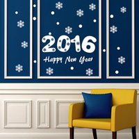 2016 Taille Happy New Year mur Xmas fenêtre Stickers Snowflake Wallpaper Sticker Home Décor Stickers muraux personnalisés