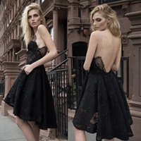 Wholesale Inbal Dror Evening - High Low Prom Dresses Lace V-Neck Sleeveless Backless Inbal Dror Evening Dress Black Short A Line Prom Gowns