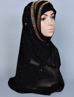 Wholesale Chiffon Muslim Scarf - Hijab Scarf Glitter Crystal Muslim Turban Shawl Silk Like Scarves For Women Free Shipping