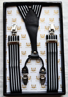Wholesale White Clip Suspenders - Men's Genuine Leather Y-Back Button Suspender Tuxedo Adjustable Striped Solid Print Clip-On Metal Braces with box