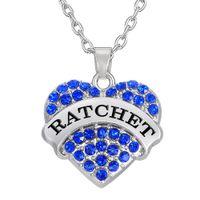 Wholesale Color Mix Statement - Hot Selling Simple design Single-Sided Elegant Pendant Mix color Rhodium Plated Letter RATCHET Woman Statement Necklaces