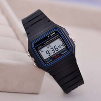 Wholesale Thin Watches Alarms - Classic Sport watches Men women F-91W watches silicone strap fashion Ultra-thin LED watches alarm clocks 100pcs lot