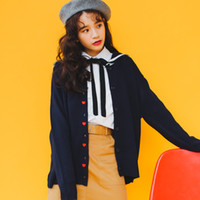 Wholesale japanese buttons wholesale - Wholesale- 2017 Women's Harajuku Spring Girls Thin Love Embroidery Navy Collar Jacket Female Cute Japanese Kawaii Bomber Coat For Women