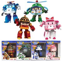 Wholesale Toys For Little Boys - 4pcs Lot Robocar Poli Toy Robot Car Transformation Toys New Toy Gift for little Girl Boy South Korea Thomas toys