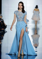 Wholesale Crystal Sparkling Short Dresses - 2017 Zuhair Murad Jewel Appliques Lace Sparkling Beaded On Top Front Split Ice Blue Satin Formal Prom Evening Party Dresses