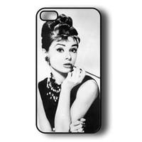 Wholesale Iphone 4s Case Audrey - Wholesale AUDREY HEPBURN Black Side Hard Plastic iPhone Case Cover For iphone 4 4S 5 5S 5C 6 6 Plus