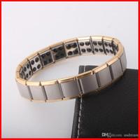 Wholesale East Relief - Titanium 80 Germaniu Nano Magnetic power Bracelet bangles gold Energy power bracelets Energy WristBand women men Pain Relief jewelry 160809