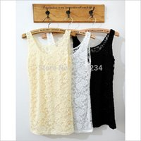 Wholesale Cheap Black Lace Tank Top - Black Beige White Pink Cheap Worth Yellow Wave Flower Hollow Out Lace Regular Tank Tops Women. Wholesale verious Products