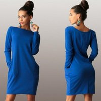 Wholesale Tunic Mini Dress Batwing Sleeves - New Fashion Classic Casual Women's Jumper Tunic Dress With Pocket Autumn Fall Outwear Pullover Top Long Sleeves Midi Dresses [CW04572*1]