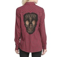 Wholesale Plaid Women S Blouse - Women Blouses Long Sleeve 2015 Lace Skull Shirt Hollow Out Women Plaid Shirt Designer Womens Fashion Clothing FG1510