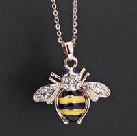 conjuntos de joyas de oro blanco indio al por mayor-Envío gratis colgante de lujo collares nupciales encanto Jewerly abeja cristal esmaltado collar de la joyería para damas en la boda