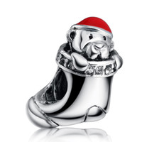 Wholesale Bead Puppy - Wholesale Christmas Stockings and Puppies 925 Sterling Silver Fashion Jewelry Charm European Charms Bead Fit DIY Snake Chain Bracelet