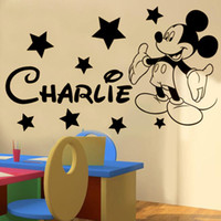 Wholesale Mouse Wall Stickers - Mickey mickey Mouse Personalised name boys bedroom wall sticker kit decal decor