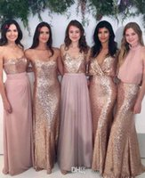 Wholesale Cheap White Chiffon Fabric - Cheap 2018 Bridesmaid Dresses Mix and Match Blush Pink Chiffon with Rose Gold Sequined Fabric Floor Length Mixture Styles Country Party Gown