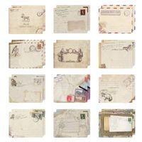 Wholesale envelope window - Wholesale- 12 pcs set Vintage Small Mini Kraft Paper Window Envelopes wedding invitation envelope gift envelope Ancien