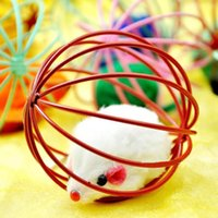 Wholesale 1 pc Fun Toys False Mouse in Rat Cage Ball gato For Pet Cat Kitten Play Playing Newest Color Send Randomly