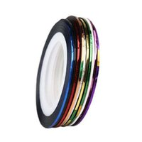 Wholesale Nail Striping Polish - Fantastic 10 Roll Mix Color Metallic Nail Art Tape Lace Line Striping Decoration Sticker For UV Gel Polish
