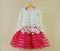 Wholesale korean children dress style - Wholesale-Summer Children Dress Korean Hollow Flower Net Yarn Girls Lace Dress 2-7Year Kids Clothing 5p l