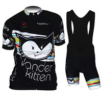 Wholesale Garments Clothes - Wholesale-new women vanderkitten cycling jersey+bib shorts ride suits cute cat cycling garment black bike shirt girl's bicycle clothes