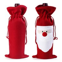 Al por mayor- Botella de Vino Rojo Bolsas de Navidad Decoración de la Mesa de Cena Home Party Decors Santa Claus Christmas Supplier LH8